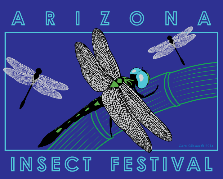 Wearable art with Thornbush Dasher dragonflies for the 2014 Arizona Insect Festival. Artwork by Cara Gibson