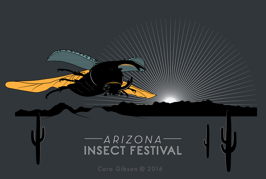 T-shirt illustration of a Western Hercules Beetle flying over the Tucson Mountains. Artwork by Cara Gibson 2016