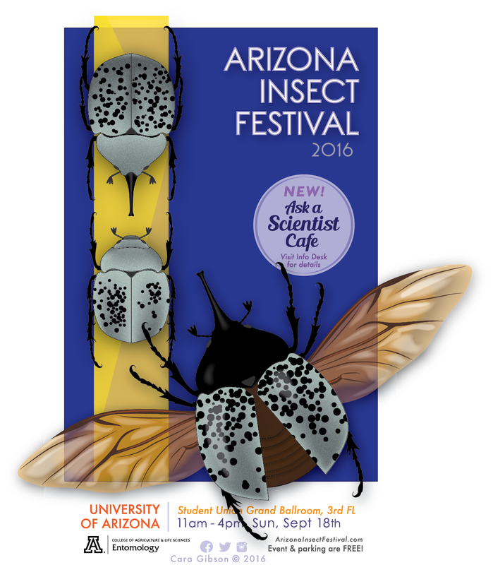 Poster announcement of the 2016 Arizona Insect Festival with Dynastes grantii beetles. Artwork by Cara Gibson